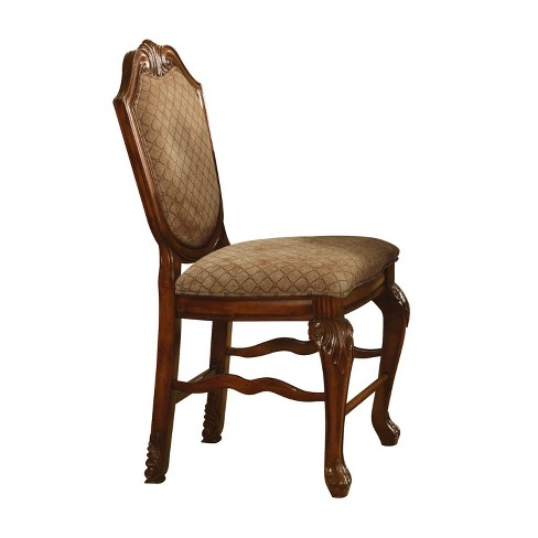 Set of 2 Chateau De Ville Counter Height Chair Fabric Brown/Cherry - Acme - image 1 of 1