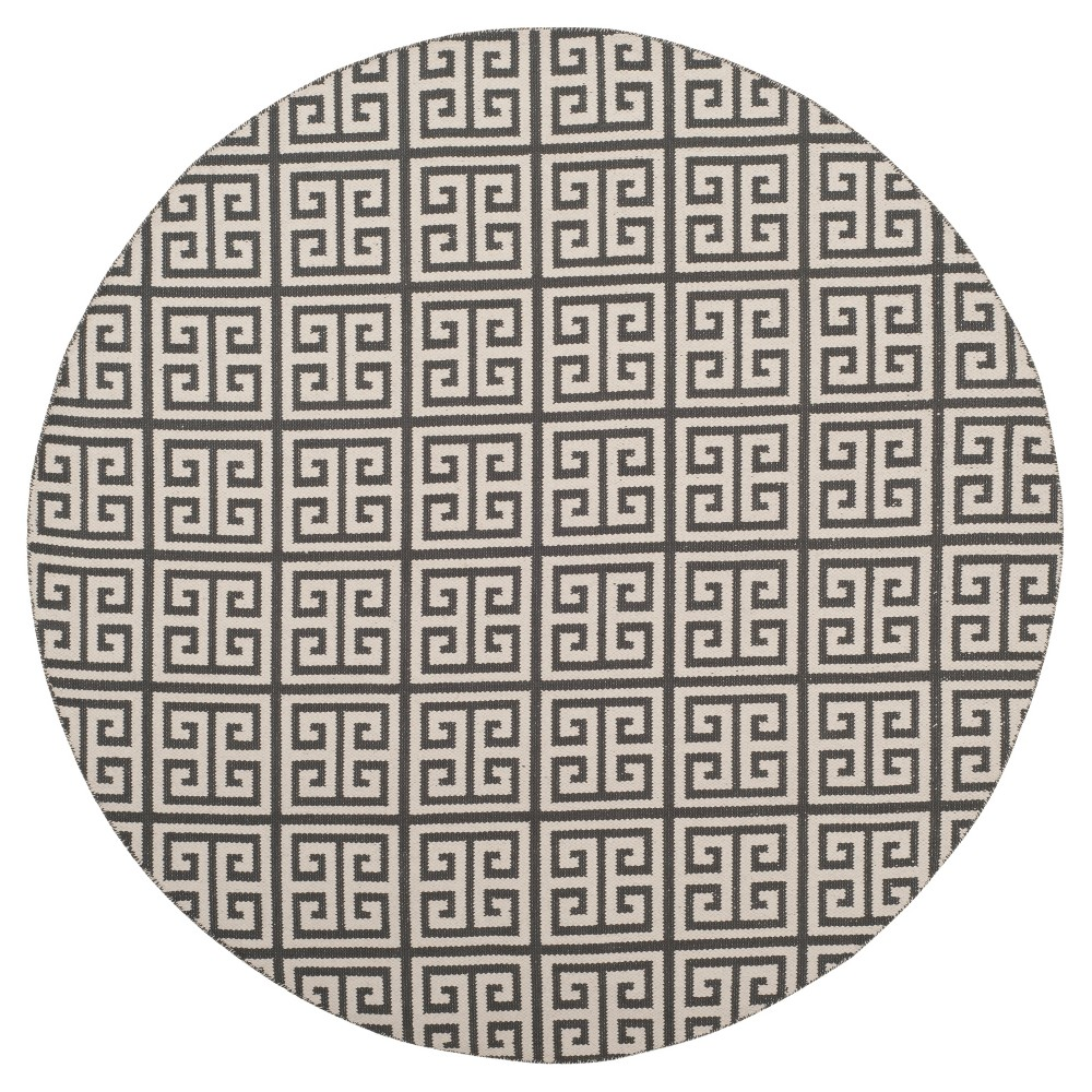 Dark Gray/Ivory Geometric Woven Round Area Rug 6' - Safavieh