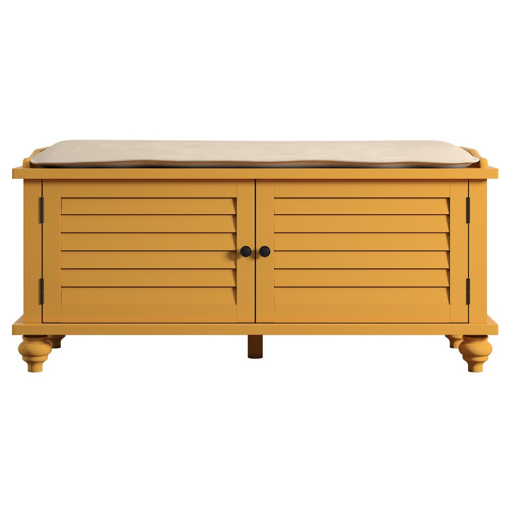 Jocelyn Cushioned Top Entry Way Bench With Storage - Yellow - Inspire Q