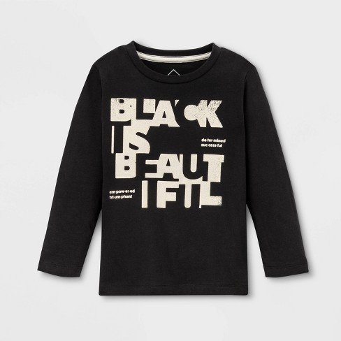 Well Worn Kids' Black Is Beautiful Long Sleeve T-Shirt - Black - image 1 of 1