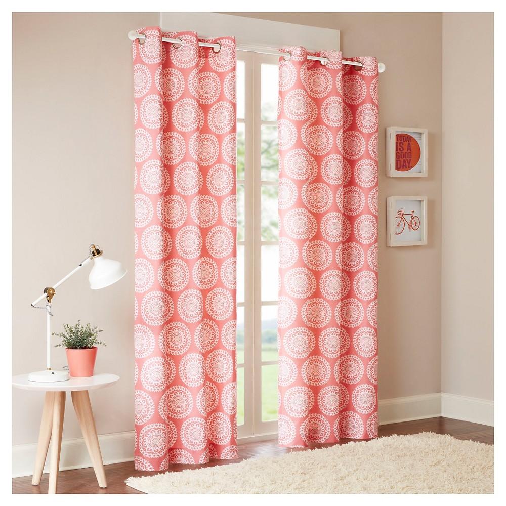 Rieti Medallion Printed Curtain Panel Pair Pink (42x84)