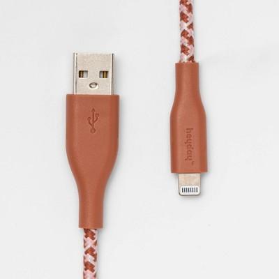 heyday™ 6' USB-A Braided Lightning Cable - Cedar Wood