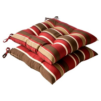 2 Piece Outdoor Tufted Chair Cushion - Brown/Red Stripe - Pillow Perfect