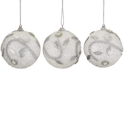 """Northlight 3ct White and Silver Shatterproof Beaded Christmas Ball Ornaments 3"""" (75mm)"""