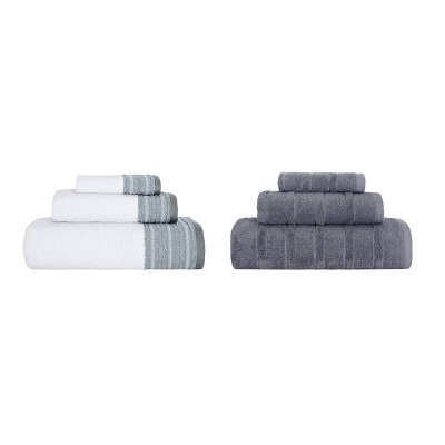 6pc Luxury Fancy Towel Bundle Set White/Gray - Royal Turkish Towels