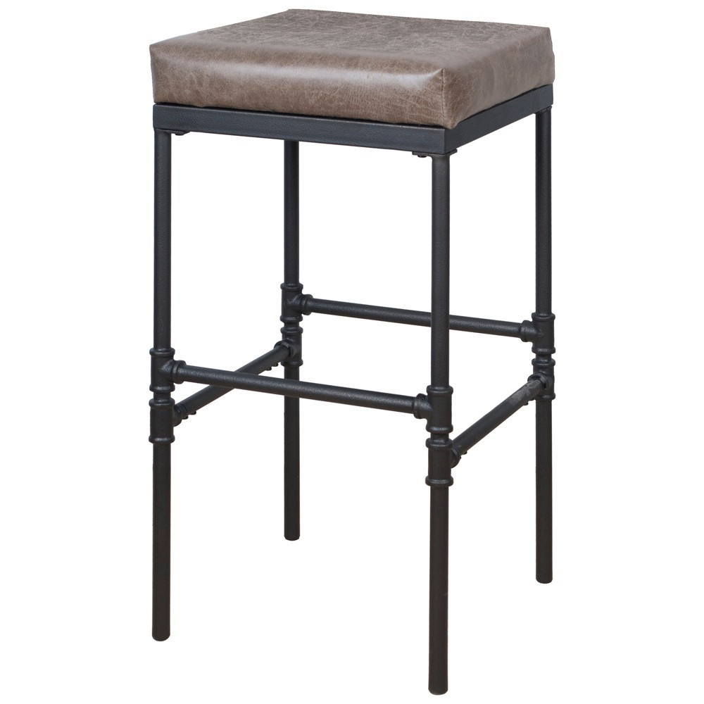 "Image of ""29"""" Powell Square Upholstered Barstool with Pipe Fitting Base Distressed Brown - Silverwood"""