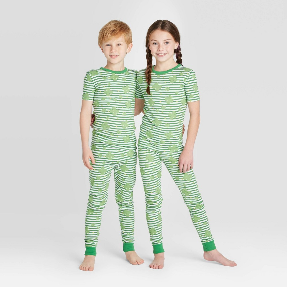 Image of Kids' St. Patrick's Day Clover Leaf Pajama Set - Green 10, Adult Unisex, Green/green