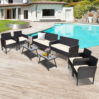 Costway 8PCS Patio Rattan Wicker Furniture Set Conversation Sofa Bench Cushioned White\ Red\Turquoise
