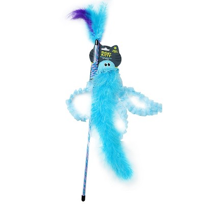 Quirky Kitty Jiggling Jellyfish Wand Cat Toy - Blue