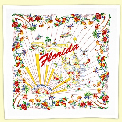 """Tabletop 22.0"""" State Of Florida Souvenir Towel 100% Cotton Retro Design 1950S Red And White Kitchen Company  -  Kitchen Towel"""
