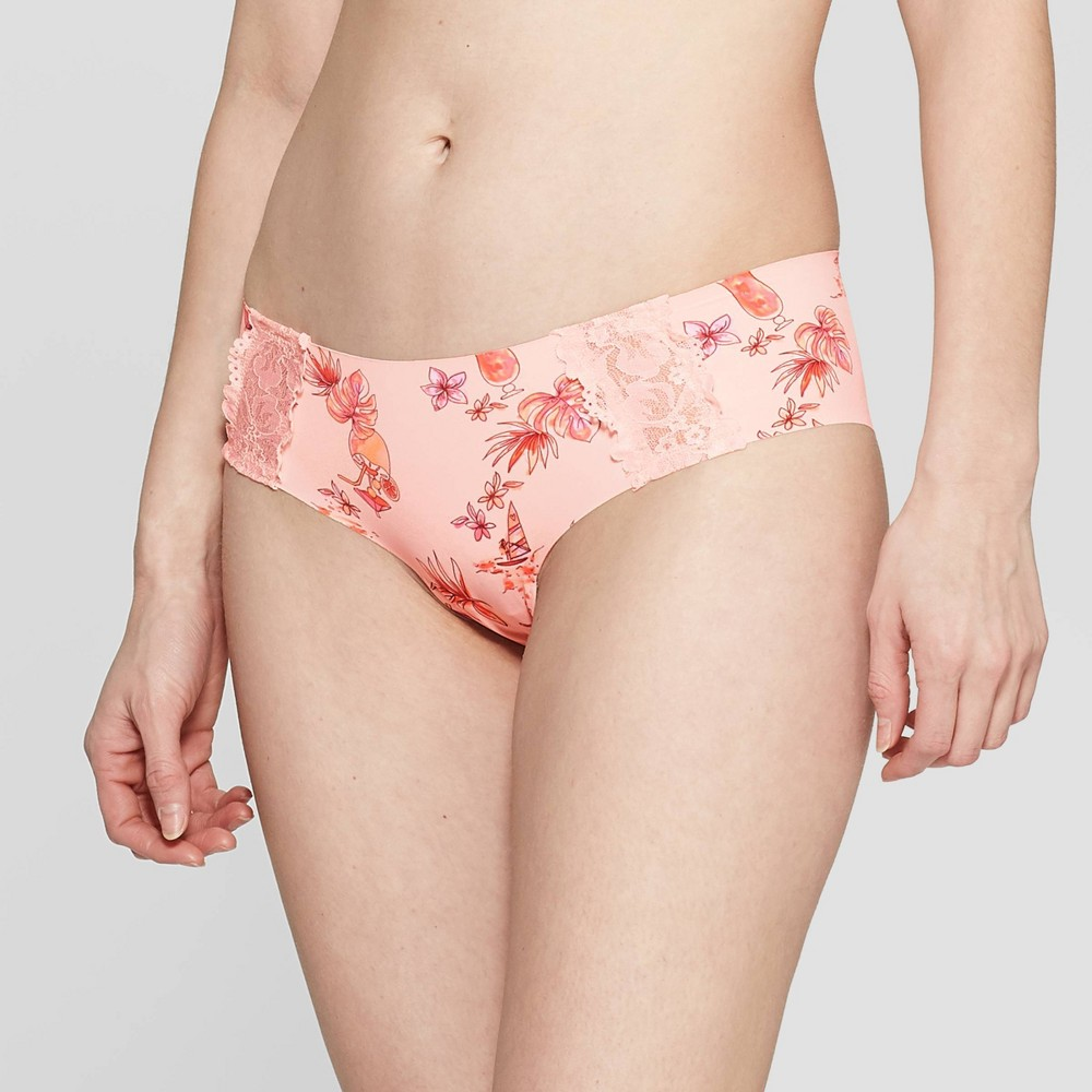 Women's Laser Cut Cheeky with Lace - Auden Casual Pink Tropical L