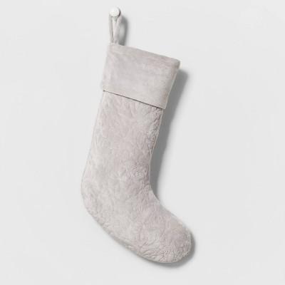 Velvet Quilted Christmas Stocking Gray - Wondershop™