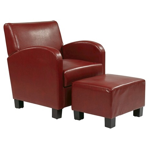 Faux Leather Club Chair With Ottoman Red Osp Home Furnishings