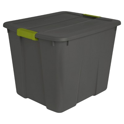 Sterilite 20gal Latch Tote Gray with Green Latches