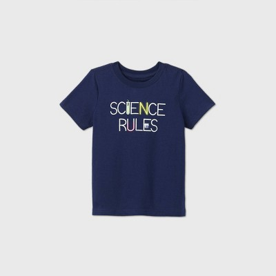 Toddler Kids' Short Sleeve 'Science Rules' Graphic T-Shirt - Cat & Jack™ Navy 18M