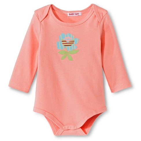 Baby Nay Rosie Long Sleeve Bodysuit - Coral - image 1 of 1