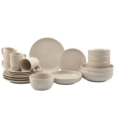 20pc Stoneware Embossed Boxwood Dinnerware Set White - Tabletops Gallery