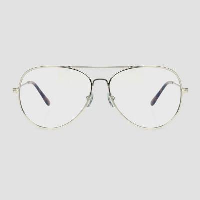 Men's Aviator Blue Light Filtering Glasses - Original Use™ Silver