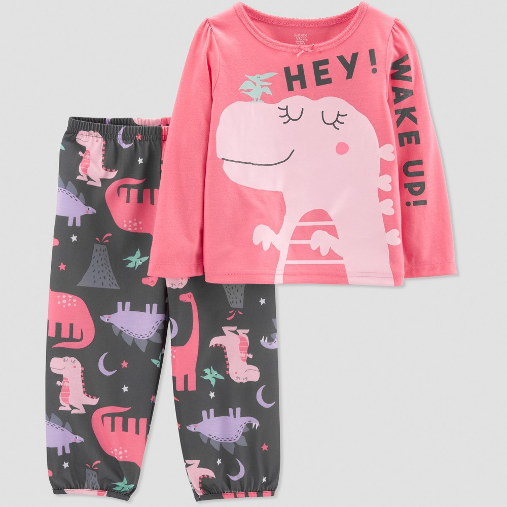 Toddler Girls' Dino 2pc Pajama Set - Just One You made by carter's Pink 3T