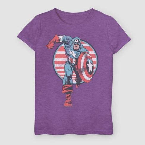 Girls' Marvel Captain America Charge Short Sleeve T-Shirt - Purple - image 1 of 1