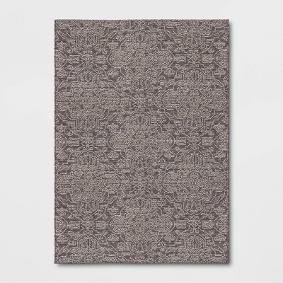 Outdoor Rug Ornamental Charcoal - Threshold™