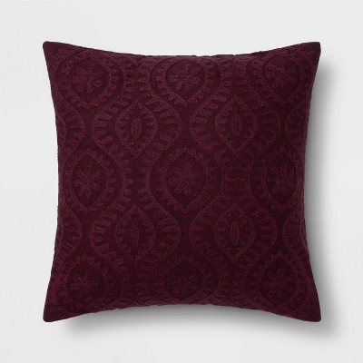 Square Embroidered Ogee Throw Pillow Eggplant - Threshold™