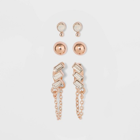 Zinc Alloy Stud Earring Set 3pc - A New Day™ Rose Gold - image 1 of 2