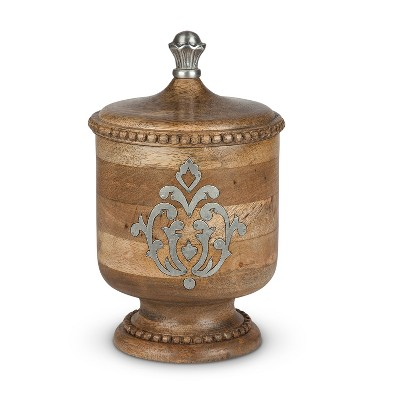 GG Collection Wood and Metal Inlay Small Heritage Collection Canister