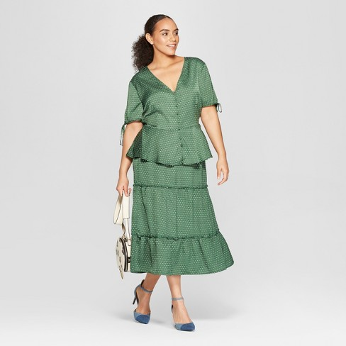 332c269fe88e6 Women s Plus Size Polka Dot Short Tie Sleeve Button Detail Peplum Top - Who  What Wear™ Green 3X   Target