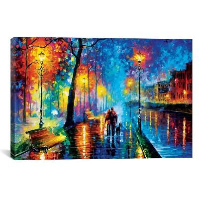 12 x18  Melody Of The Night by Leonid Afremov Unframed Wall Canvas Print Blue - iCanvas