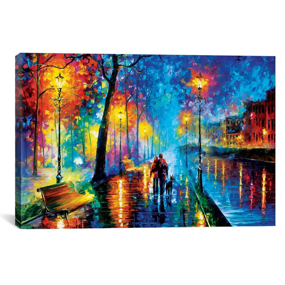"Image of ""12""""x18"""" Melody Of The Night by Leonid Afremov Unframed Wall Canvas Print Blue - iCanvas"""