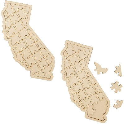 """2 Pack Blank California Map Wooden Jigsaw Puzzles, DIY Wood Puzzle to Draw On, Arts & Crafts Supplies, 15"""" x 7.5"""", 30pc"""