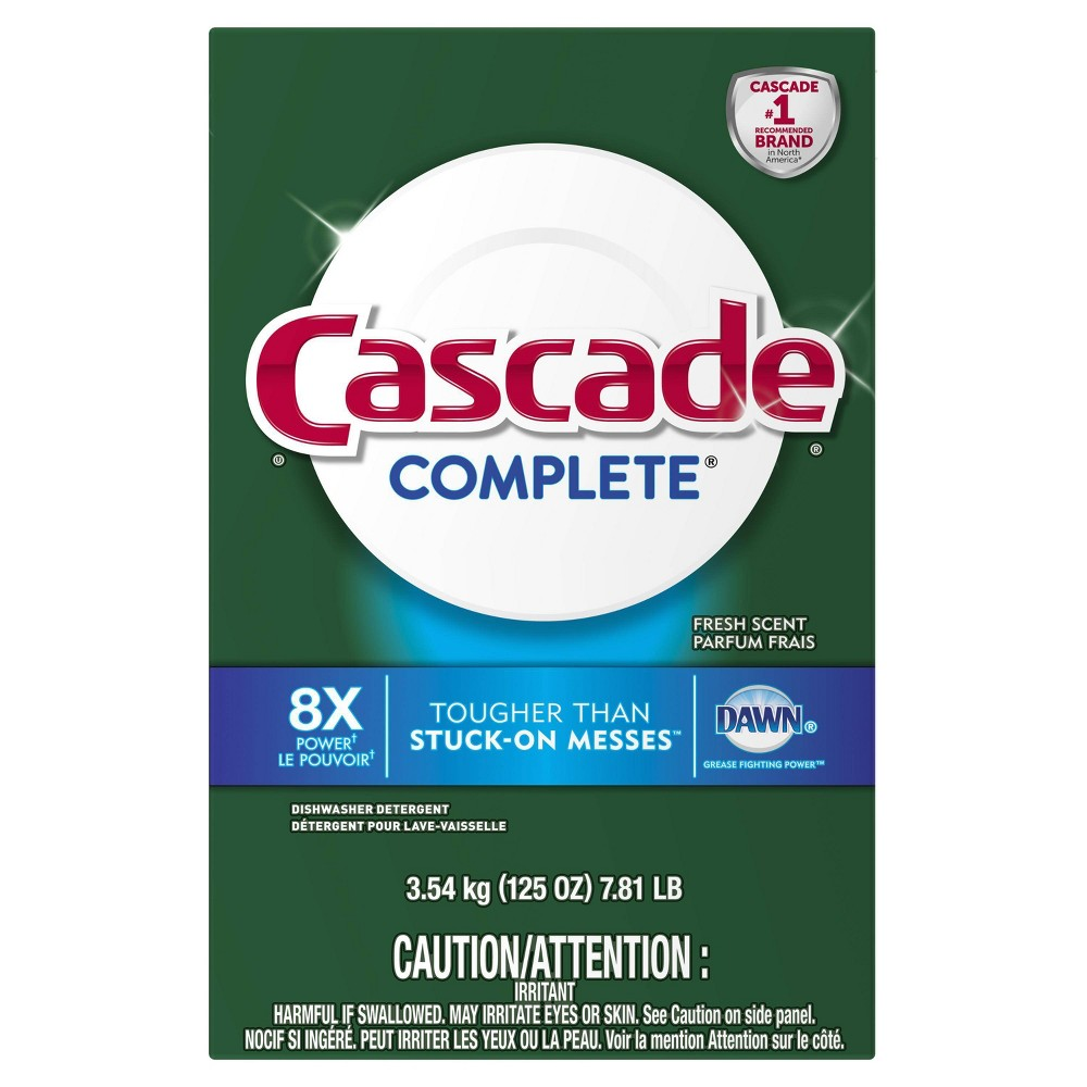 Cascade Complete Powder Dishwasher Detergent - Fresh Scent - 125oz, White Cascade Complete Powder dishwasher detergent powers away stuck on messes to give your dishes a complete clean. Cascade Complete Powder dishwasher detergent is formulated with the grease fighting power of Dawn. Cascade Complete Powder dishwasher detergent cleans 24 hour stuck on food along with baked on food. Cascade Complete Powder dishwasher detergent powers away residues and tea stains. Cascade Complete Powder dishwasher detergent is safe to use on all dishwasher safe dishes. Color: White.