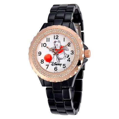 Women's Disney® Winnie Bezel Enamel Sparkle Watch - Black - image 1 of 2