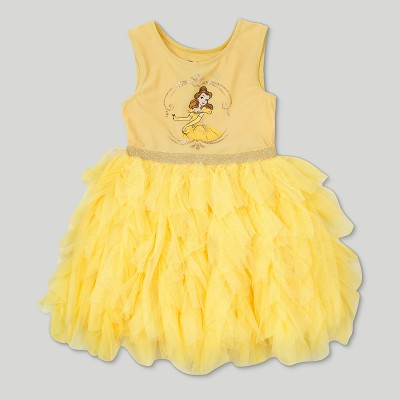 Toddler Girls' Disney Beauty and the Beast Belle Sleeveless Tutu Dress - Yellow 2T
