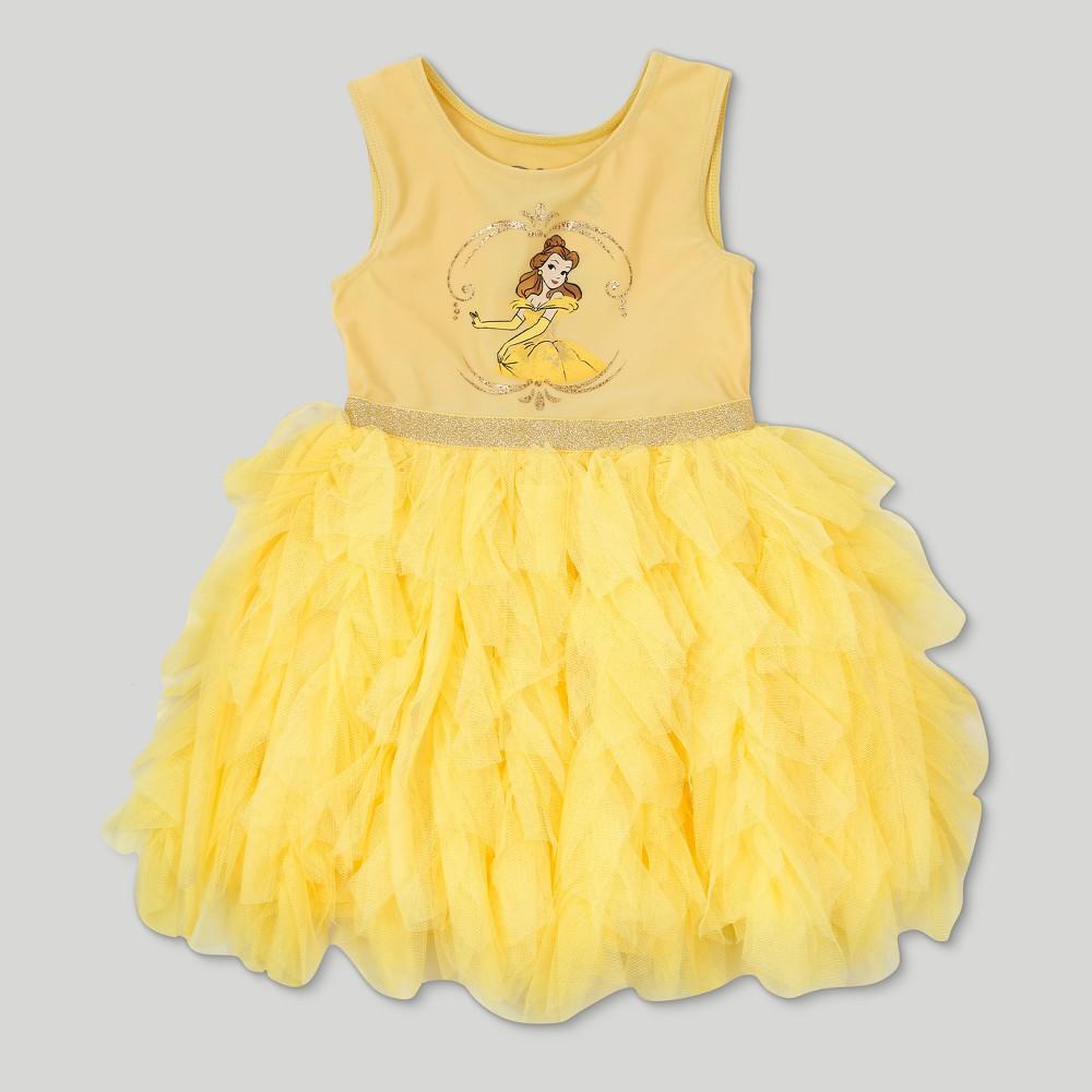 Toddler Girls' Disney Beauty and the Beast Belle Sleeveless Tutu Dress - Yellow 5T