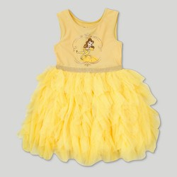 Toddler Girls' Disney Beauty and the Beast Belle Sleeveless Tutu Dress - Yellow