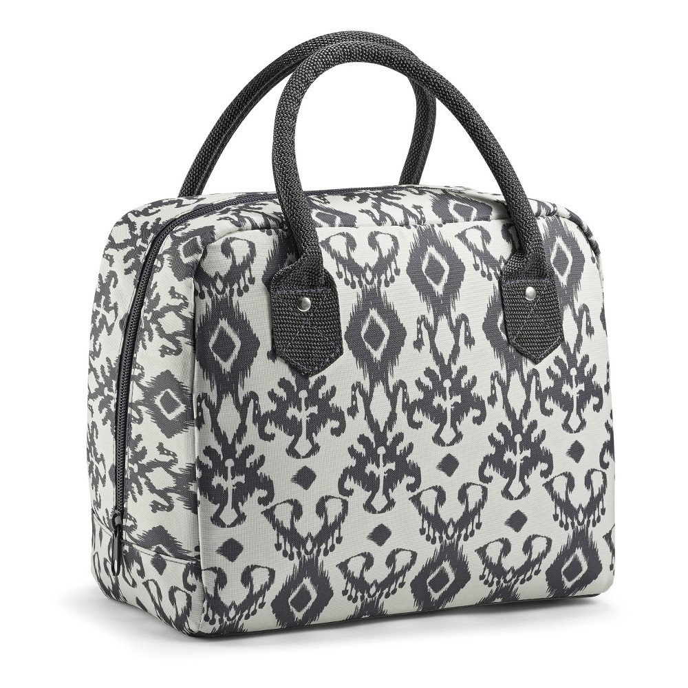 Image of Fit & Fresh Bloomington Lunch Tote - Charcoal Ikat, Beige Gray