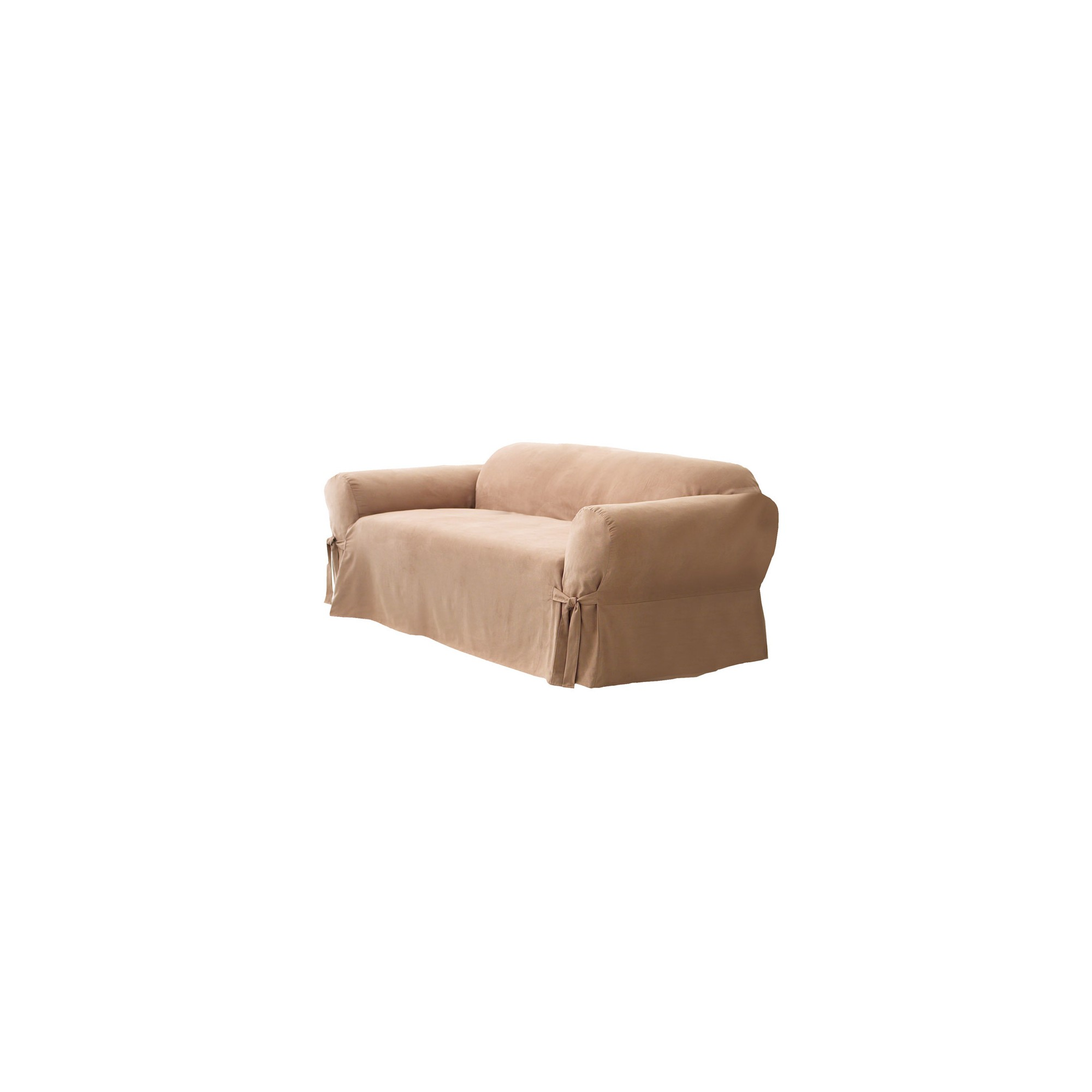 Soft Suede Loveseat Slipcover Sable - Sure Fit