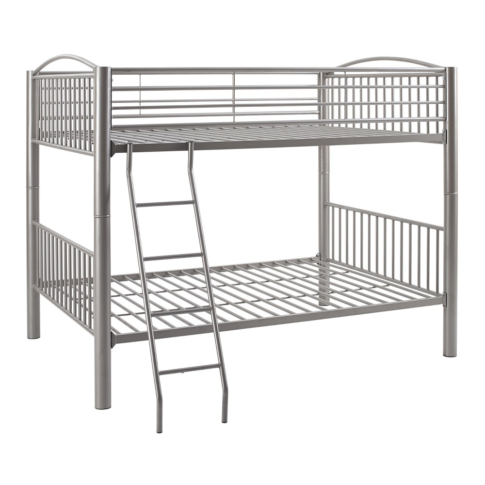 Full Over Full Aiden Bunk Bed Pewter (Silver) - Powell Company