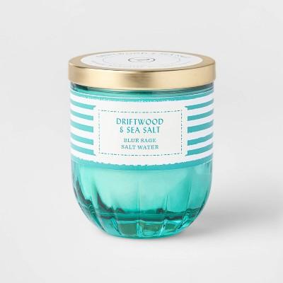7oz Lidded Jade Ribbed Base Glass Jar Driftwood and Sea Salt Candle - Opalhouse™