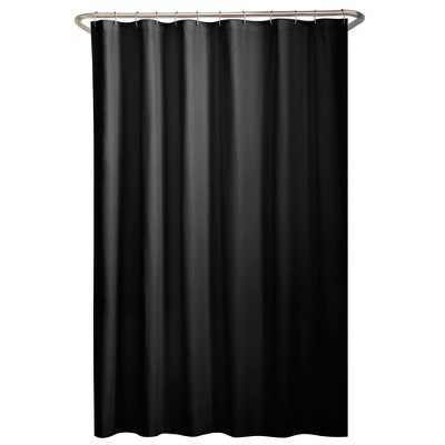 Water Repellant Fabric Shower Liner Black - Zenna Home