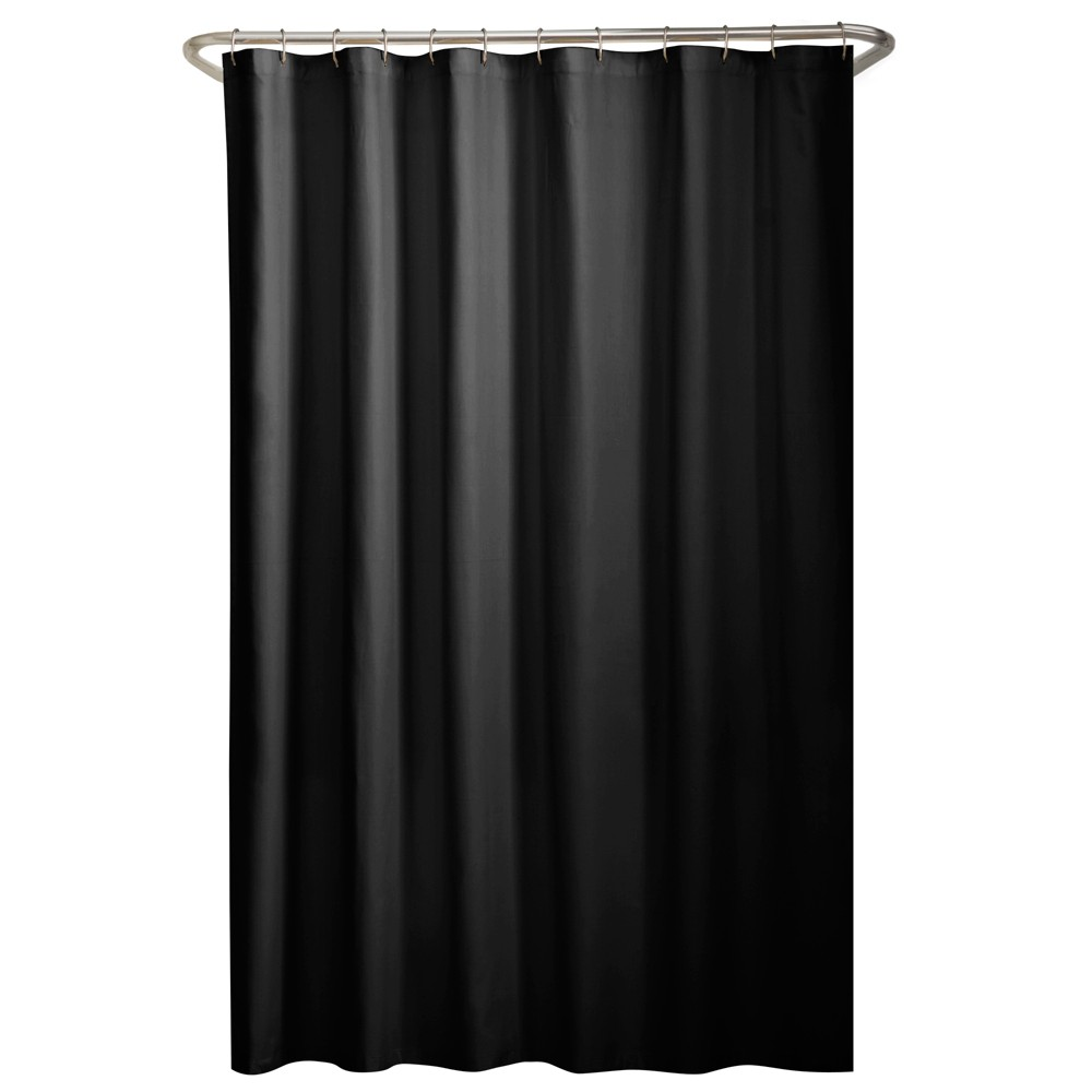 Water Repellant Fabric Shower Liner Black - Maytex