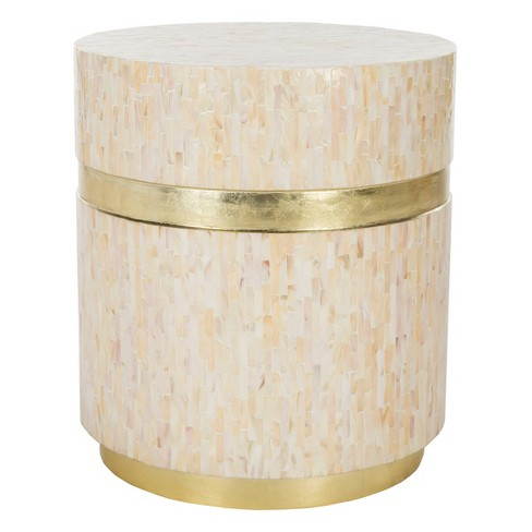 Perla Mosaic Round Side Table Pink Champagne Gold Safavieh