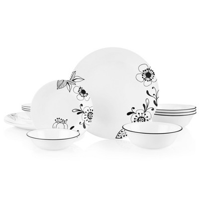 Corelle 16pc Vitrelle Inked Poppy Dinnerware Set