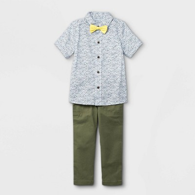 Toddler Boys' 3pc Floral Print Woven Short Sleeve Shirt & Pant Set with Bow Tie - Cat & Jack™ Cream
