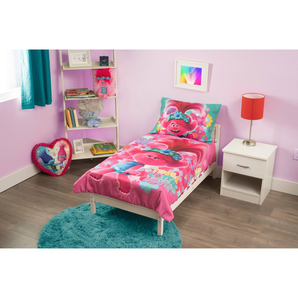 Image of 4pc Toddler Trolls Lotta Love Bed Set