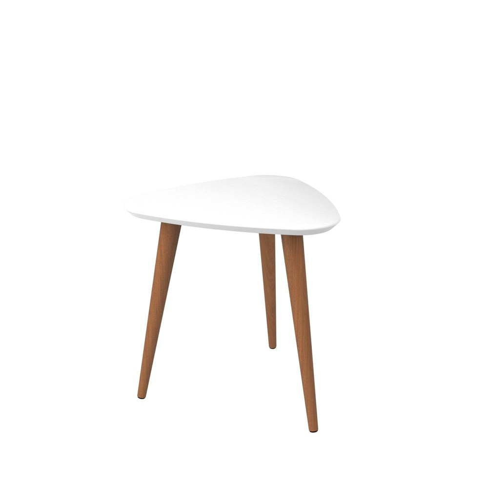 19 68 Utopia High Triangle End Table With Splayed Wooden Legs Gloss White Manhattan Comfort
