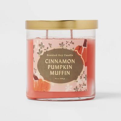 Lidded Glass Jar Cinnamon Pumpkin Muffin Candle - Opalhouse™