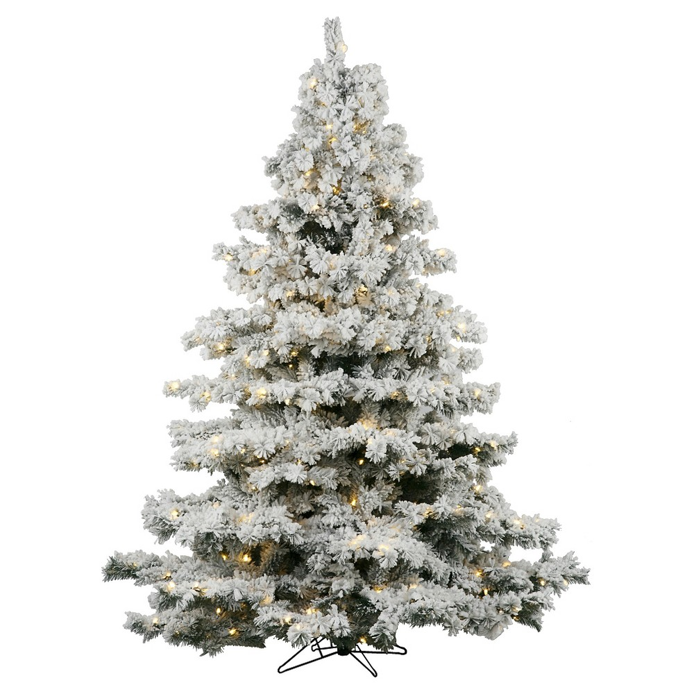 6.5ft Pre-Lit Artificial Christmas Tree Full Flocked Alaskan - Clear Lights, Green